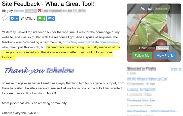 Wealthy Affiliate Site Feedback Tool - Testimonial 1