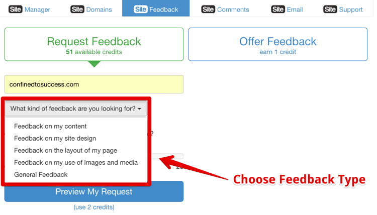 Wealthy Affiliate Site Feedback Tool - Choose Feedback Type