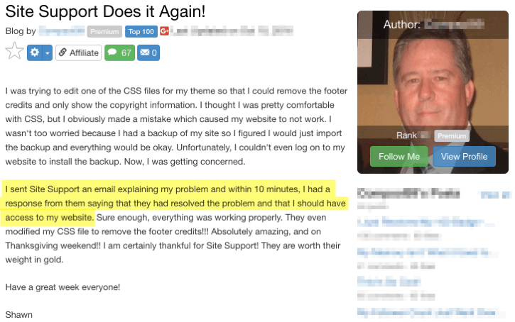 Wealthy Affiliate Support - Testimonial 2