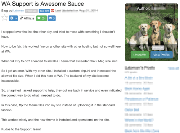 Wealthy Affiliate Support - Testimonial 5
