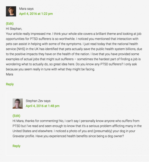 Wealthy Affiliate Site Comments - Example 1