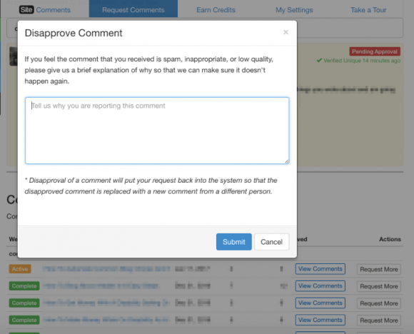 Wealthy Affiliate Site Comments - Disapprove Comment