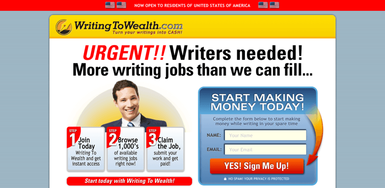 Writing To Wealth Review - Homepage